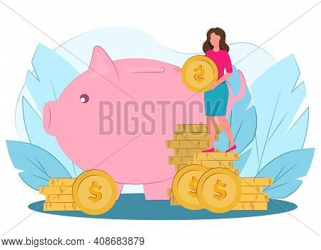 Piggy Bank With Coins. Vector Illustration In Flat Style. The Woman Puts Money In A Piggy Bank. Bank