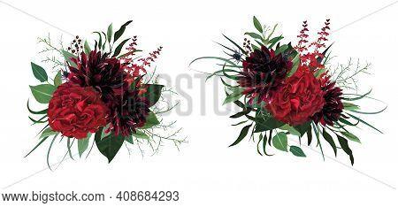 Beautiful Luxurious Burgundy Red, Green Watercolor Style Vector Bouquet. Garden Roses, Dahlia Flower