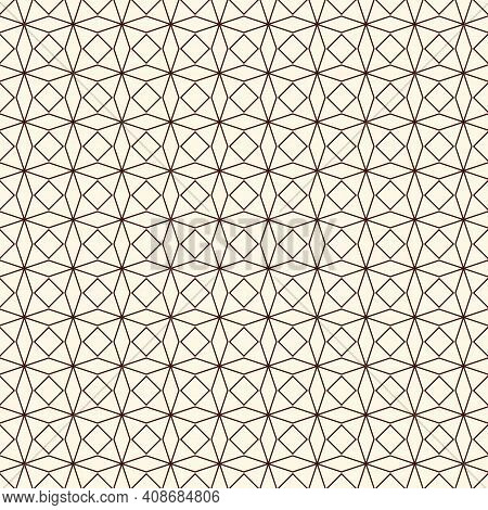 Outline Seamless Pattern With Abstract Ornament. Lacy Openwork Motif. Repeated Geometric Figures Wal