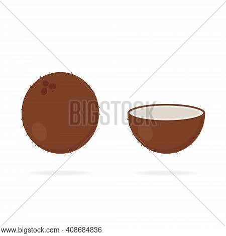 Coconut Icon In Cartoon Style. Tropical Fruit. Whole, Half Part Of Coconut. Vector