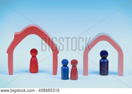 Divorce, Conflict Between Parents, Children Custody After Divorce. Wooden Figures, Miniature Parient