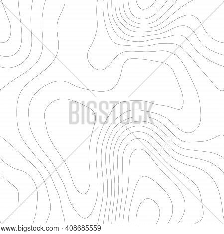 Line Topography Map Seamless Pattern. Seamless Vector Topographic Map Background. Contour Background