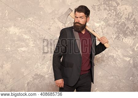 Brutal Bearded Man With Axe. Collection Agency Or Debt Collector. Businessman With Ax. Threat To Deb