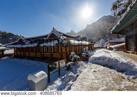 Alpencia, South Korea, 2016, Winter - Buddhist Monastery Among The Snowy Forest In The Winter Taiga.