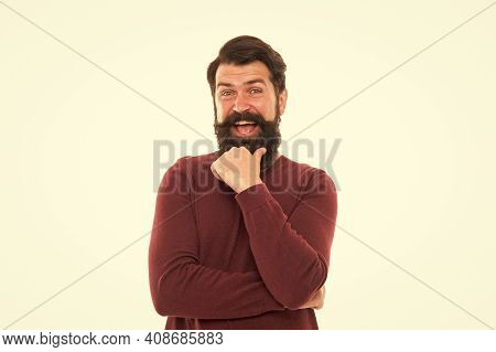 In Good Mood. Bearded Hipster Feel Happiness. Man Expressing Positive Emotion. Life Is Full Of Joy.