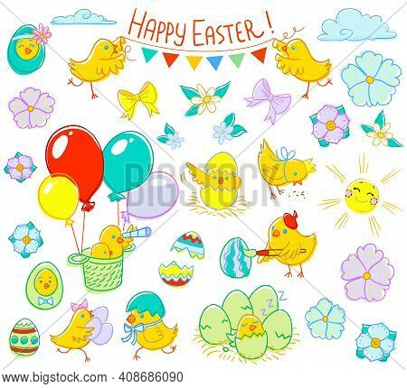 Easter Cute Chickens. Scalable Clipart. Great To Use For Your Festive Decorations- Both For Adults A