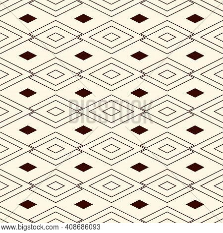 Outline Seamless Pattern With Geometric Figures. Repeated Diamond Ornamental Abstract Background. Rh