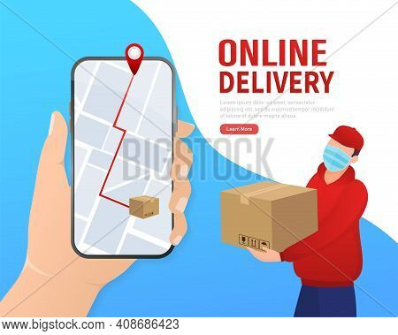 Flat Infographic With Red Online Delivery For Mobile App Design. Food Delivery Service.