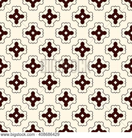 Outline Seamless Pattern With Repeated Geometric Figures. Ornamental Abstract Background. Oriental M