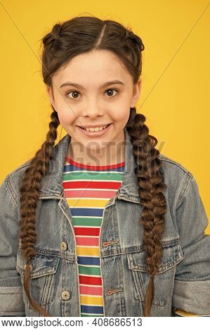 Beautiful Cover Girl. Happy Girl Yellow Background. Child Girl With Cute Smile. Small Girl With Long