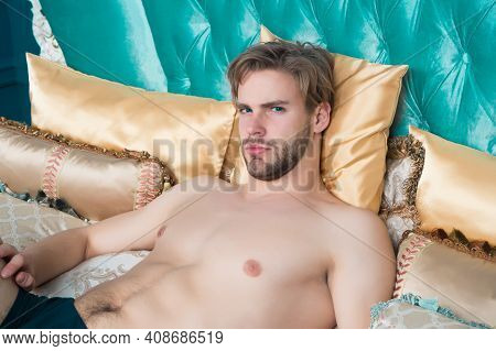 Its Morning Again. Single Man Wakeup In Morning. Sexy Man Lie In Bed. Enjoy Every Single Day