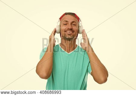 Just Be Cool. Cool Guy Listen To Music Isolated On White. Happy Man Wear Headphones. Cool Music. Fun