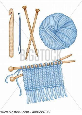 Watercolor Knitting, Crocheting Tools Set. Wooden Knitting Needles, Crochet Hook, Wool Yarn Skein, K