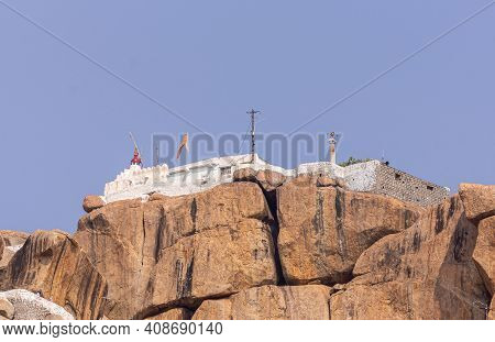 Hunumanahalli, Karnataka, India - November 9, 2013: Closeup Of Kishkinda, Anjanadri Hill, Anjaneya P