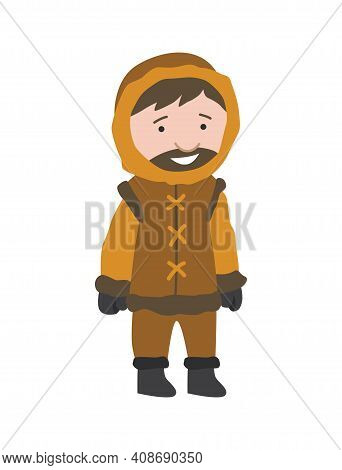 North Pole Arctic People. Polar Man Vector Illustration In Flat Style. Life In The North. Clothes Fo