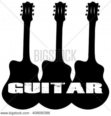 Trio of Guitars with GUITAR text Silhouette on White with Clipping Path.