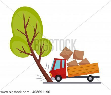 Accident On Road Car Damaged. Road Accident Icon. Truck Crash When Met A Tree. Damaged Vehicle Insur