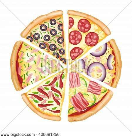 Color Pizza Top View. Savoury Pizza Ads With 3d Illustration Rich Toppings Dough. Colorful And Tasty