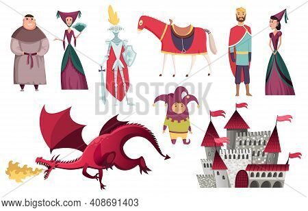Medieval Kingdom Characters Of Middle Ages Historic Period Vector Illustrations. Peoples Set. Kings
