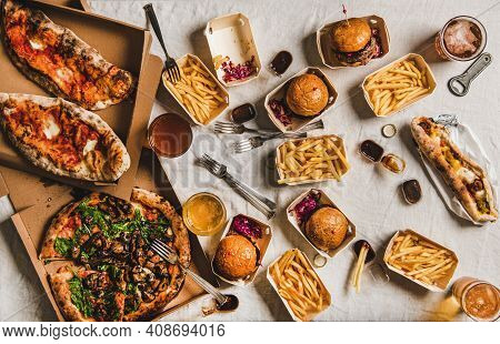 Lockdown Fast Food Dinner From Delivery Service Concept. Flat-lay Of Quarantine Home Party With Burg