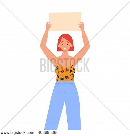 Girl Holding A Blank Poster With Place For Text. A Young Woman Holds A Bullet Leaf In Her Hands. Tee