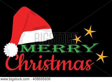 Merry Christmas Greeting with Santa Hat and Stars on Black with Clipping Path