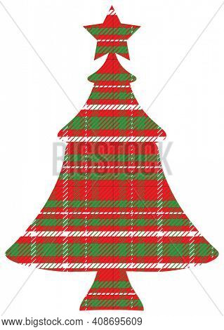 Red Green White Plaid Christmas Tree with Clipping Path on White.