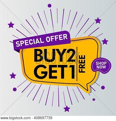 Buy 2 Get 1 Free Sale Message Concept Illustration Design Graphic Design