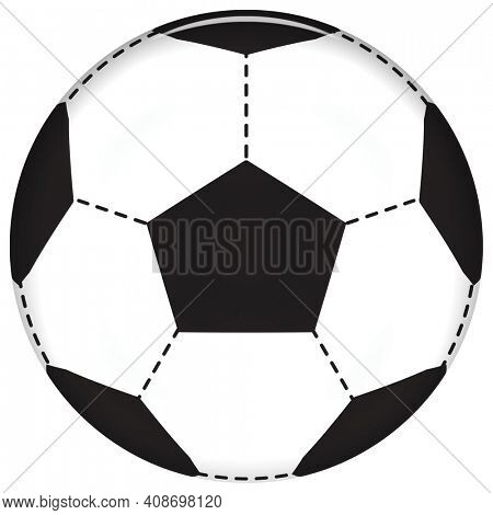 Soccer Ball Illustration Black and White Isolated on White with Clipping Path