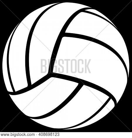 White Volleyball Silhouette on Black with Clipping Path