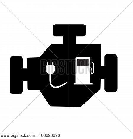 Plug-in Hybrid Electric Vehicle (phev) Engine Icon On White Background. Plug-in Hybrid Sign. Flat St