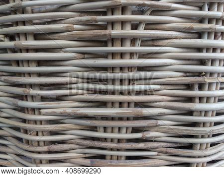 Concept Retro Nature Rattan Weave Texture For Background, Hand Made Weaving Machine In The Countrysi