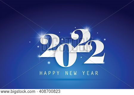 2022 Happy New Year Elegant Design - Vector Illustration Of Paper Cut White Color 2022 Logo Numbers