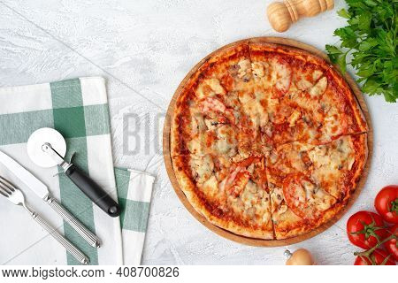Tasty Pizza With Chicken And Mushrooms, Top View
