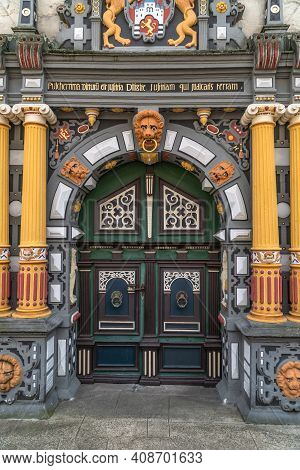 Hannoversch Muenden, Germany - 2019 -07-18: Main Portal In The Town Hall In Hannoversch Muenden