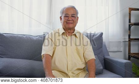 Head Shot Portrait Old Man Grandfather Smile With Eyeglasses Relaxing Looking At Camera, Asian Happy