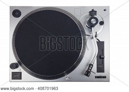 Silver Turntablewithout Record Isolated Over White Background