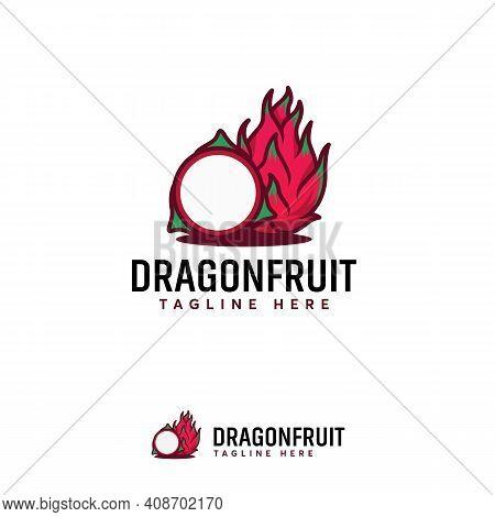 Exotic Cartoon Dragon Fruit Logo Designs Vector, Illustration Dragon Fruit