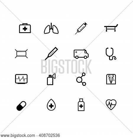Medical Icons Set Outline Isolated On White Background. Medical Icons Sign. Medical Icons Vector, Me