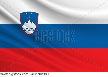 Flag Of Slovenia. Fabric Texture Of The Flag Of Slovenia.