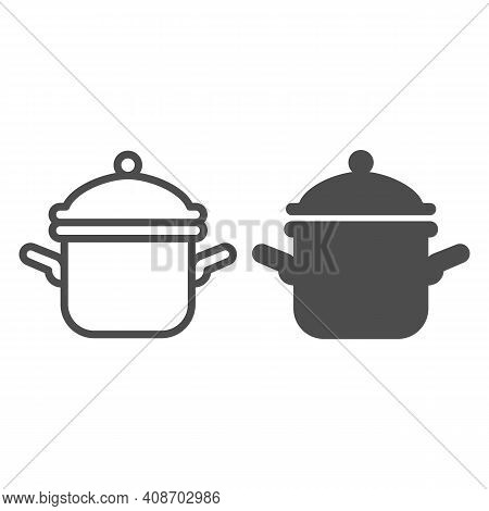Pot With Lid Line And Solid Icon, Thanksgiving Day Concept, Casserole Sign On White Background, Sauc