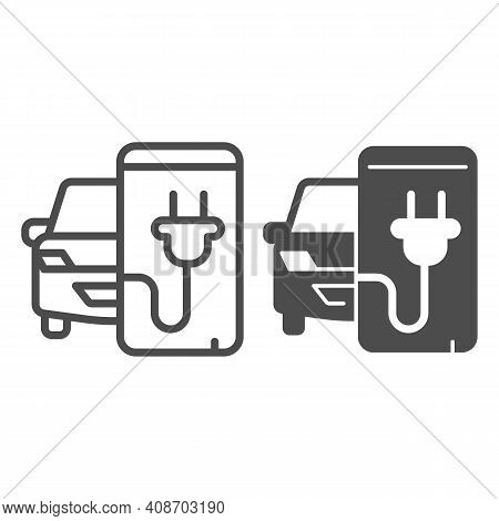 Electric Car And Smartphone With Plug Line And Solid Icon, Electric Car Concept, Monitoring Electric