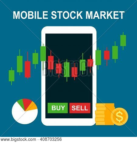 Stock Market Trading Investment On Smartphone. Candle Stick Indicator And Buy Or Sell On Screen. Onl