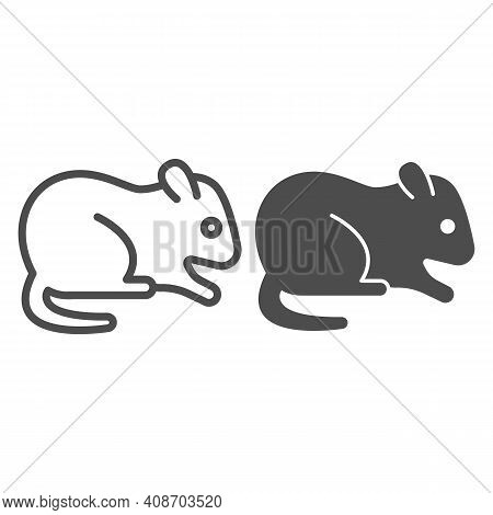 Hamster Line And Solid Icon, Domestic Animals Concept, Rodent Sign On White Background, Hamster Silh