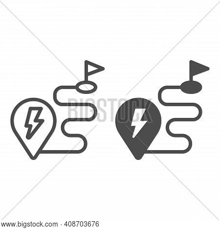 Route And Location Pin With Lightning Line And Solid Icon, Electric Car Concept, Charge Geo Tag On M