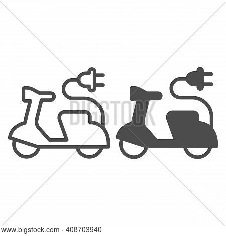 Electric Scooter And Cord With Plug Line And Solid Icon, Electric Car Concept, Ev Bike Sign On White
