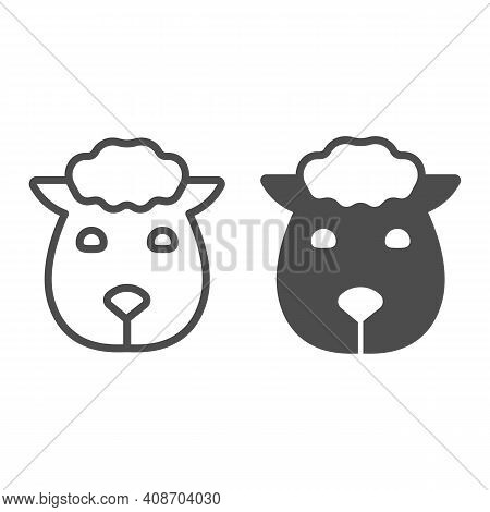 Sheep Head Line And Solid Icon, Domestic Animals Concept, Lamb Sign On White Background, Sheep Portr