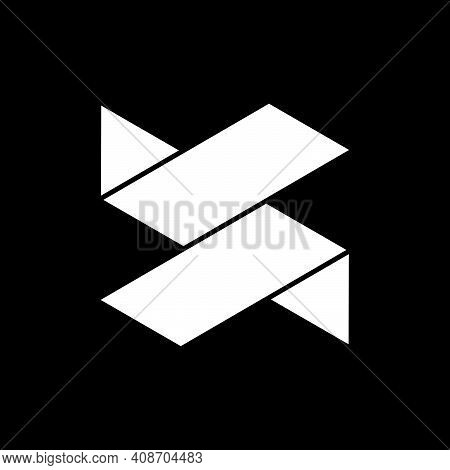 Initial Letter S Or Jr Logo Template With Modern Geometric Low Poly Origami Illustration In Flat Des