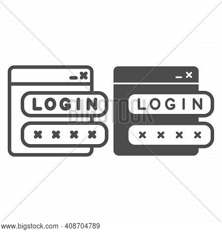 Webpage With User Authorization Line And Solid Icon, Web Security Concept, Login Form Sign On White