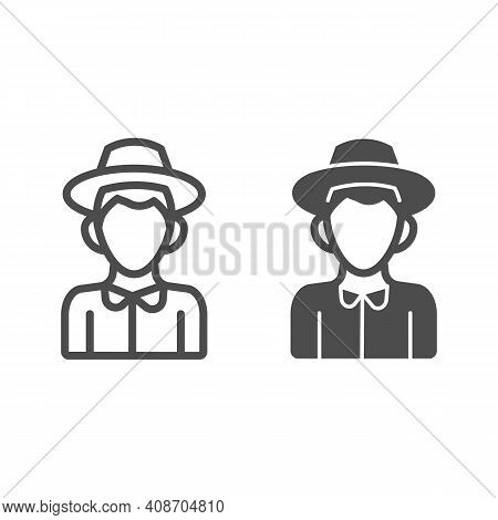 Farmer Boy Line And Solid Icon, Thanksgiving Day Concept, Peasant In Hat Sign On White Background, C